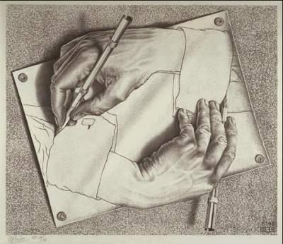 Mãos que se desenham, de Escher